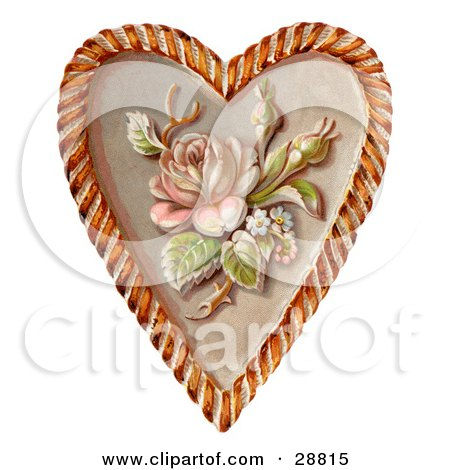 Clipart Picture of a Vintage Valentine Of A Rose And Blossoms On A Heart, Circa 1890 by OldPixels