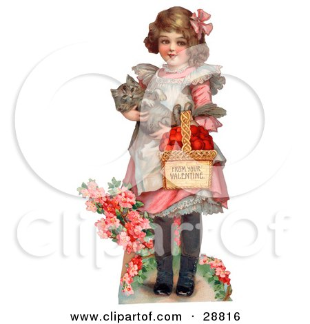 Vintage Valentine Of A Sweet Little Girl Carrying A Basket Of Red Hearts And A Cat In Her Arms, Walking In A Flower Garden, Circa 1885 Posters, Art Prints