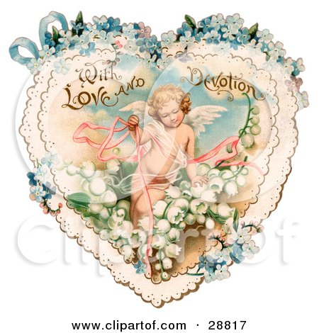 Clipart Picture of a Vintage Valentine Of Cupid With Ribbons, Prancing In White Lily Of The Valley Flowers On A Lacy Heart With Forget Me Not Flowers, Circa 1890 by OldPixels