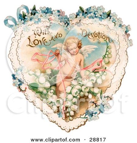 Valentines Flowers on Vintage Valentine Of Cupid Smiling Inside A Purple Floral Forget Me