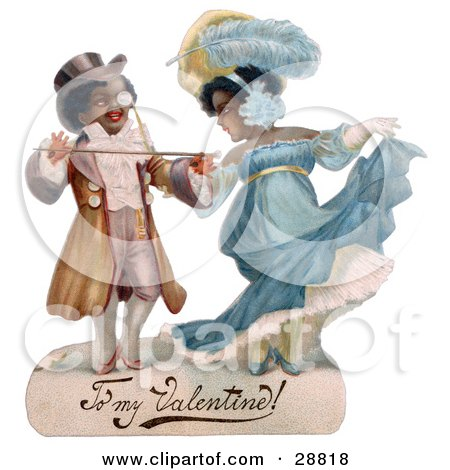 Clipart Picture of a Vintage Valentine Of A Romantic Black Couple In Beautiful Clothing, Ballroom Dancing, Circa 1890 by OldPixels