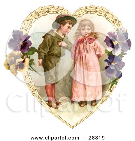 Clipart Picture of a Vintage Valentine Of A Sweet Little Boy Trying To Woo A Little Girl In A Heart Of Leaves And Pansy Flowers, Circa 1890 by OldPixels