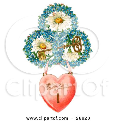 Vintage Valentine Of A Heart Locket Suspended From Rings Of Blue Flowers Around White Daisies With A Gold Skeleton Key Circa 1890 Posters, Art Prints