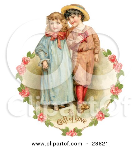 Clipart Picture of a Vintage Valentine Of A Sweet Little Boy And Girl Strolling Arm In Arm, Looking Off To The Side, Circled By A Heart Of Pink Roses Circa 1886 by OldPixels