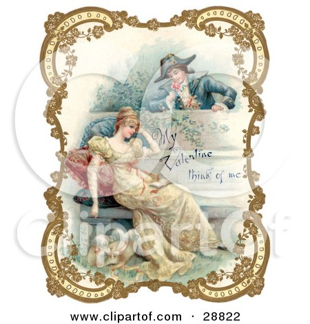 Clipart Picture of a Vintage Valentine Of A Man Holding A Flower And Looking Over A Patio Wall, Admiring A Young Lady, Bordered By Golden Flowers, Circa 18th Century by OldPixels