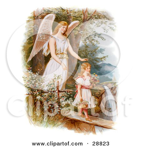Clipart Picture of a Vintage Valentine Of A Female Guardian Angel Looking Over A Little Girl As She Carries Flowers And A Basket Across A Log Over A Cliff And River, Circa 1890 by OldPixels