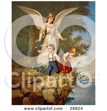 Clipart Picture of a Vintage Valentine Of A Female Guardian Angel Watching Over A Little Boy And Girl As They Pick Flowers And Chase Butterflies At The Edge Of A Cliff, Circa 1890 by OldPixels