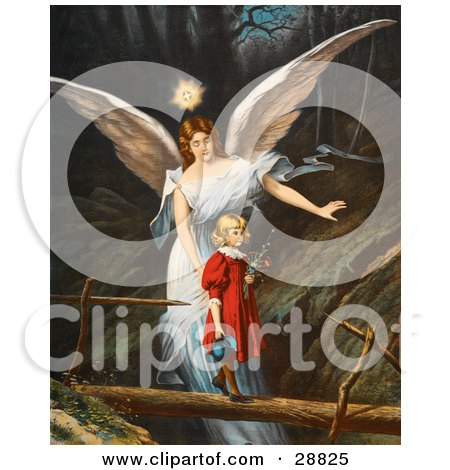 Clipart Picture of a Vintage Valentine Of A Female Guardian Angel Guiding A Little Girl In A Red Dress Across A Dangerous Log Bridge Over A Gorge, Circa 1890 by OldPixels
