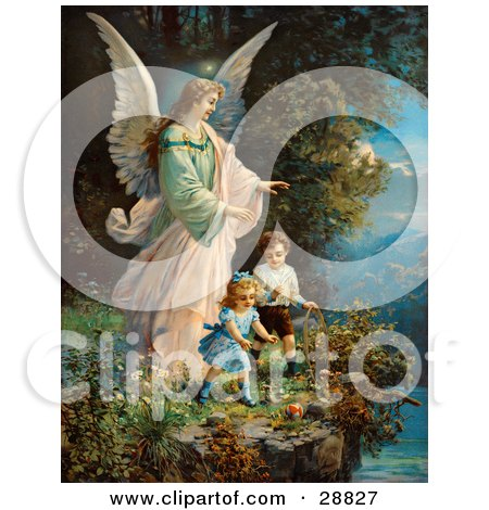 Clipart Picture of a Vintage Valentine Of A Female Guardian Angel Watching Over Two Little Children As They Play With A Ball And Hoop At The Edge Of A Cliff, Circa 1890 by OldPixels
