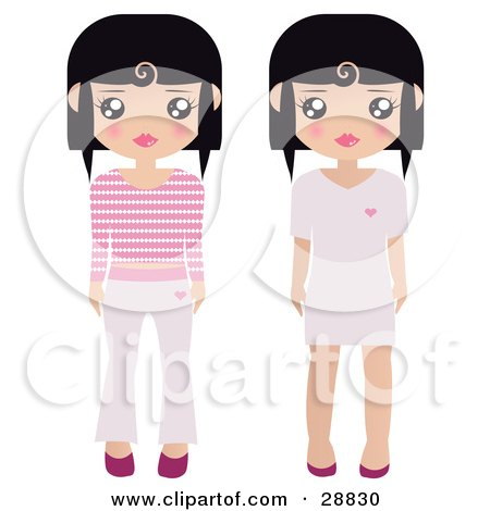 Clipart Illustration of Two Black Haired Female Paper Dolls Pink And White Shoes, Dresses, Pants And Shirts by Melisende Vector