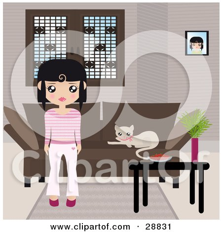 Black Haired Girl Dressed In Pink And White, Standing In Front Of A Brown Couch With A Kitty Resting On The Cushions And A Table With A Bowl And Plant Posters, Art Prints