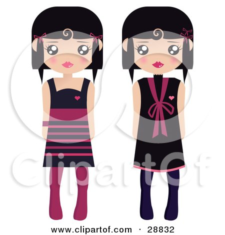 Clipart Illustration of Two Black Haired Female Paper Dolls In Black And Pink Dresses And Tights by Melisende Vector