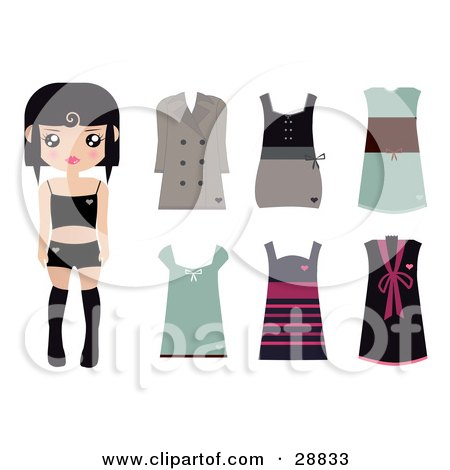 Clipart Illustration of a Black Haired Female Paper Doll Wearing Black Undergarments, With A Brown Coat And Dress And Green, Pink And Black Dresses by Melisende Vector
