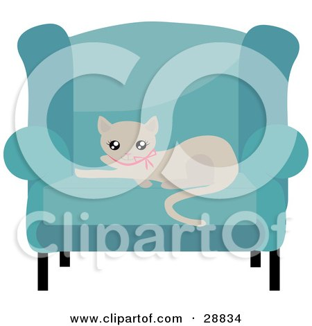Clipart Illustration of an Adorable Beige Kitty Cat In A Pink Collar, Resting On A Cushion Of A Blue Living Room Chair by Melisende Vector