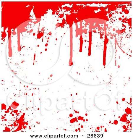 Clipart Illustration of a Red Blood Splatters Dripping Over A White Background With Spots Scattered by KJ Pargeter