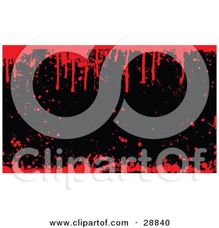 Clipart Illustration of a Black Background With Grunge Splatters, Bordered By Dripping Red Blood by KJ Pargeter