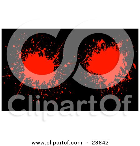 Clipart Illustration of Two Red Blood Splatters On A Black Background by KJ Pargeter