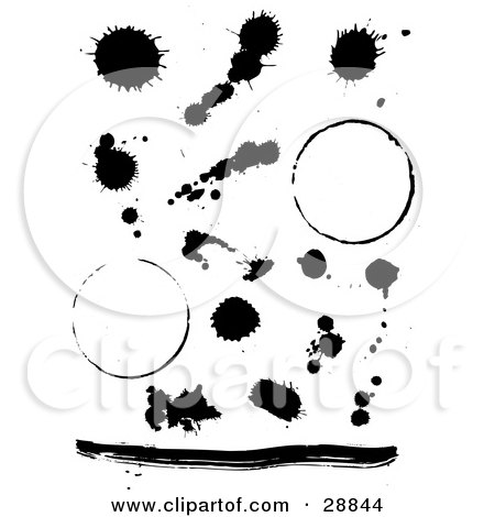 Clipart Illustration of a Set Of Black Ink Splatters, A Line And Two Ring Stains On A White Background by KJ Pargeter