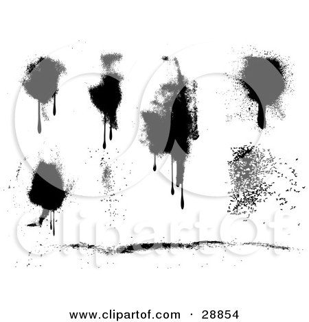 Clipart Illustration of a Black And White Set Of Different Styled Dripping Splatters by KJ Pargeter