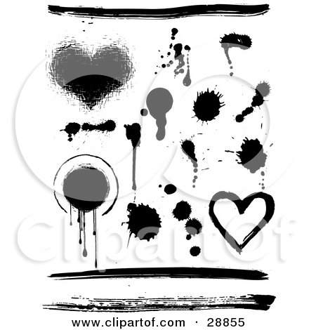 Clipart Illustration of an Elements Set Of Hearts, Circles, Lines And Ink Splatters In Black And White by KJ Pargeter