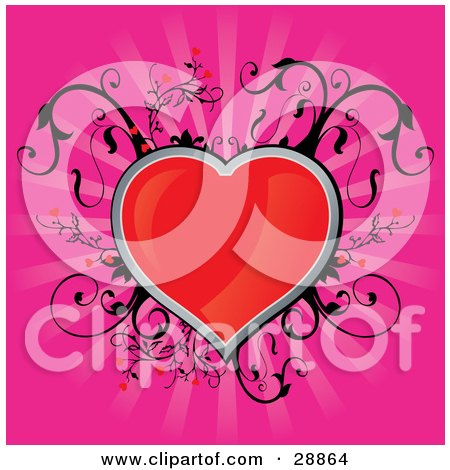 Clipart Illustration of a Shiny Red Heart Traced In Silver With Black Vines Growing Around It, Over A Bursting Pink Background by Paulo Resende