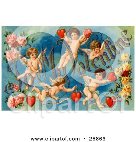 "Vintage Valentine Of Five Playful Cupids With Roses, Decorated ""To My Valentine"" Text With Red Hearts, Circa 1911 Posters, Art Prints"