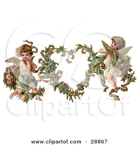 Clipart Picture of a Vintage Valentine Of Two Adorable Cupids With Roses Beside A Gilded Forget Me Not Valentine Heart Wreath by OldPixels