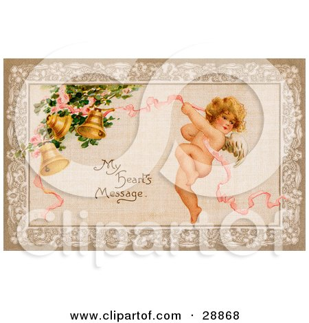 """Clipart Picture of a Vintage Valentine Of Cupid Flying And Tugging On A Pink Ribbon Connected To Golden Ringing Bells With Text Reading """"My Heart's Message"""" Circa 1910 by OldPixels"""