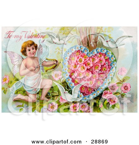 Clipart Picture of a Vintage Valentine Of Three White Doves Flying Around Cupid Aiming An Arrow At A Heart Made Of Pink Poppies And Blue Forget Me Nots, Circa 1910 by OldPixels