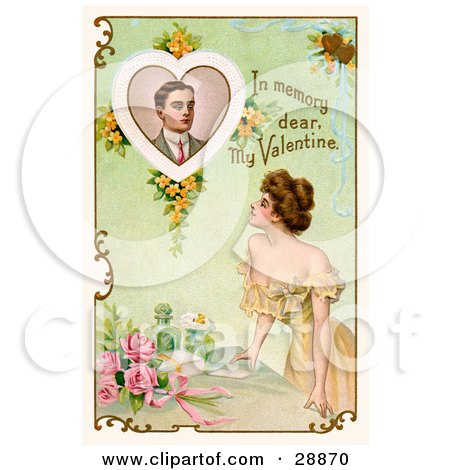 """Clipart Picture of a Vintage Valentine Of A Beautiful Young Lady Leaning On A Table And Looking Up At A Portrait Of A Deceased Man With Text Reading """"In Memory Dear, My Valentine"""" Circa 1910 by OldPixels"""