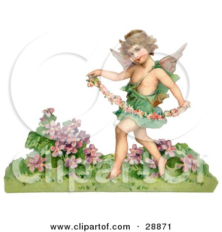 Clipart Picture of a Vintage Valentine Of A Cupid Playfully Running Through A Garden And Carrying A Garland Of Flowers, Circa 1888 by OldPixels