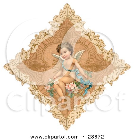 Clipart Picture of a Vintage Valentine Of A Cute Cupid Draped In A Blue Ribbon, Sitting On Pink Flowers In The Center Of A Delicate Diamond by OldPixels