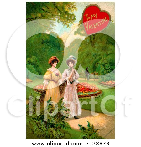 Clipart Picture of a Vintage Valentine Of Two Ladies Strolling Through A Garden And Talking About A Man In The Background by OldPixels