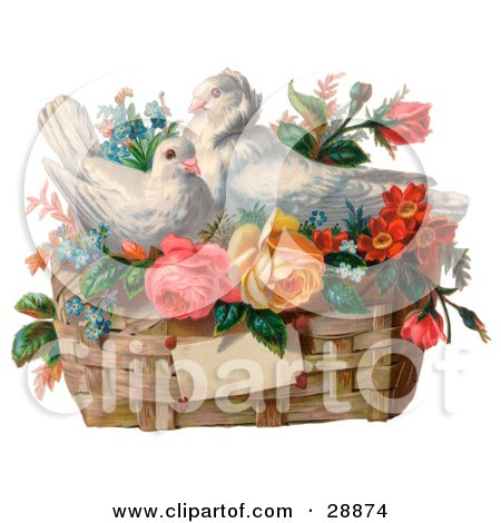 Clipart Picture of a Vintage Valentine Of Two White Doves Nesting In A Basket Of Forget Me Nots And Roses, Circa 1890 by OldPixels