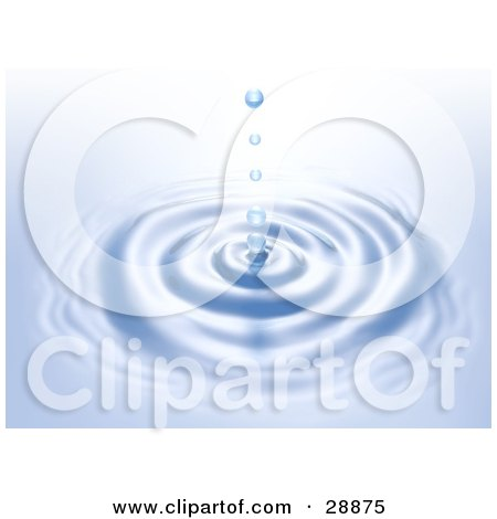 Clipart Illustration of Water Droplets Falling Straight Down Into Concentric Circles On The Surface Of Blue Water by Tonis Pan