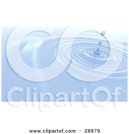 Clipart Illustration of Three Blue Droplets Dripping Down In The Center Of Concentric Circles Of Water by Tonis Pan