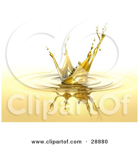 Clipart Illustration of a Golden Splash With Droplets At The Ends, A Reflection And Circles On The Surface by Tonis Pan