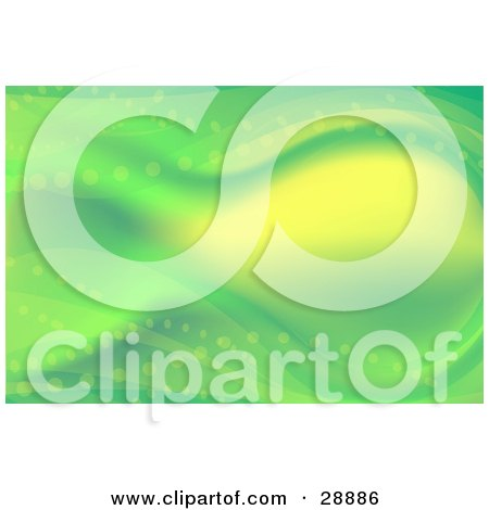 Fantasy Or Underwater Background Of Green And Yellow Waves And Dots Posters, Art Prints