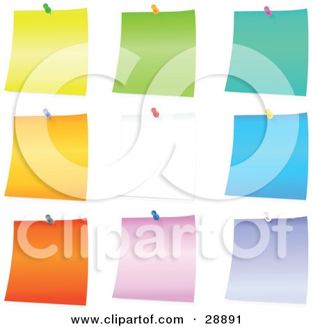 Clipart Illustration of a Set Of Yellow, Green, Blue, Orange, White, Pink And Purple Blank Pieces Of Note Paper Tacked To A Board by Tonis Pan