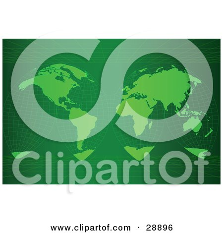 Clipart Illustration of an Unwrapped Green Grid Map Of Planet Earth Showing The Continents, Over A Green Background With Grids On The Top And Bottom by Tonis Pan