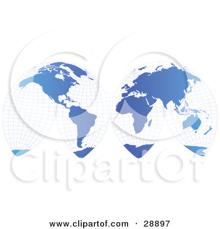Unwrapped Gradient Blue Grid Map Of Planet Earth Showing The Continents, Over A White Background Posters, Art Prints