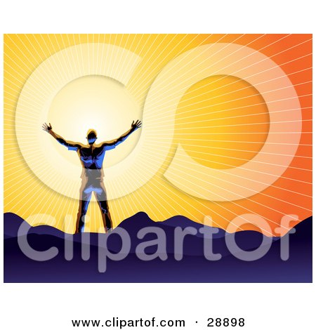 Clipart Illustration of a Shiny Blue Silhouetted Man Holding His Arms Out In Front Of The Sun And Standing On Mountains, Symbolizing Freedom And Worship by Tonis Pan
