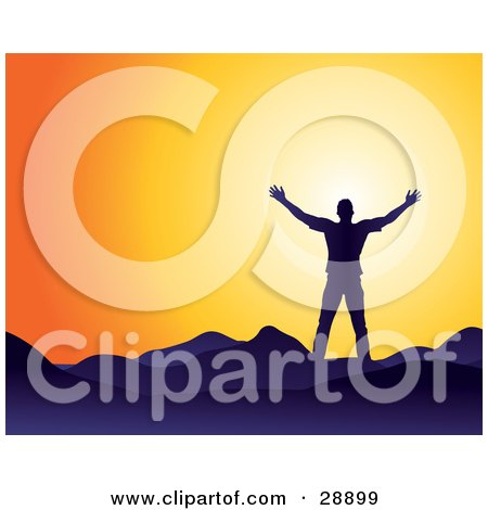 Clipart Illustration of a Man Silhouetted In Blue, Facing The Sun And Holding His Arm Out, Symbolizing Freedom And Worship by Tonis Pan