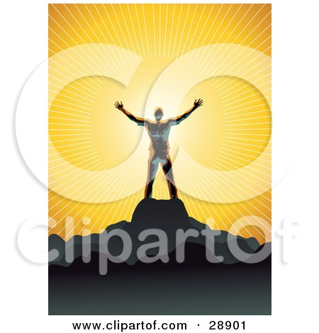 Clipart Illustration of a Shiny Man Silhouetted In Gray, Standing On Top Of A Mountain And Embracing The Warmth Of The Sunlight, Symbolizing Freedom And Worship by Tonis Pan