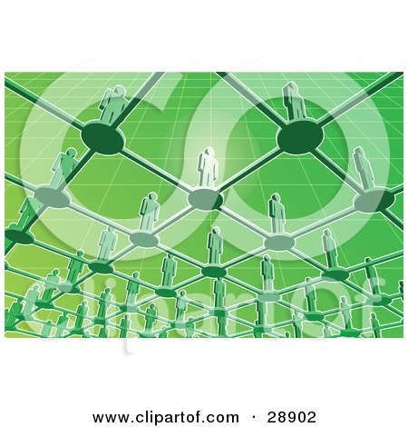 Clipart Illustration of a View From Below Of Green People Standing On Circles Connected By Bars In A Grid, One Person Glowing And Standing Out by Tonis Pan