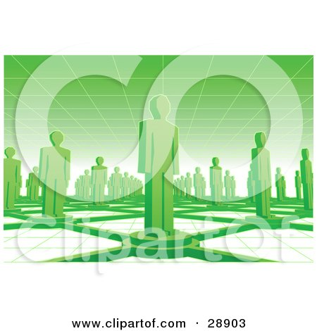 Clipart Illustration of Green People Standing On Circles Connected By Bars Between A Grid Floor And Ceiling by Tonis Pan