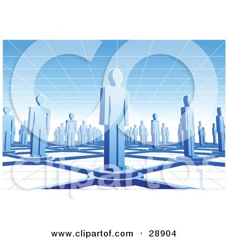 Clipart Illustration of Blue People Standing On Circles Connected By Bars Between A Grid Floor And Ceiling by Tonis Pan