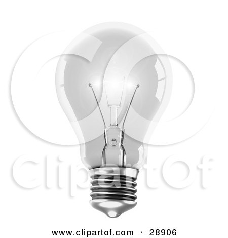 Clipart Illustration of a Clear White Light Emitting Bright Light, On A White Background, Symbolizing Energy And Creativity by Tonis Pan