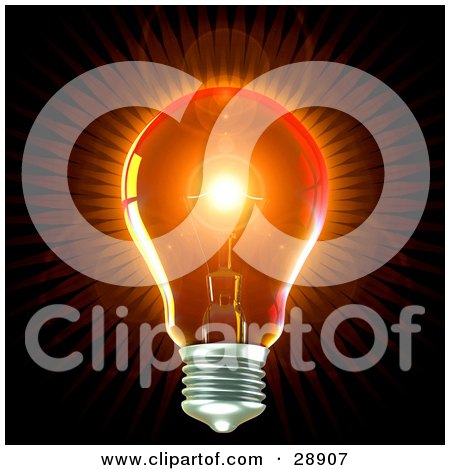 Clipart Illustration of a Clear Light Bulb Emitting Bright Orange Light With A Flare In The Center, Over Black, Symbolizing Creativity And Energy by Tonis Pan