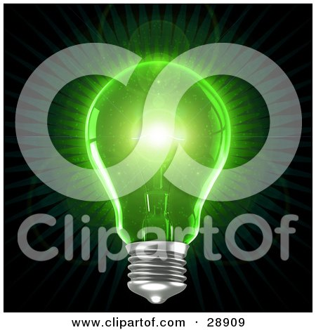 Clipart Illustration of a Clear Light Bulb Emitting Bright Green Light Over A Black Background, Symbolizing Inspiration And Creativity by Tonis Pan